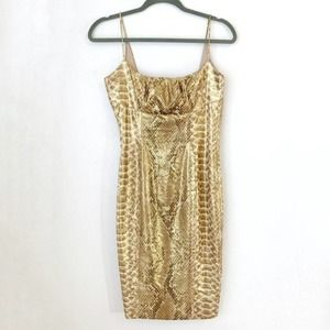 Tracy Reese Gold Snake Sheath Midi Dress Sz 4